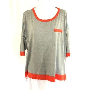 Bobeau Womens Top T Shirt Hi Lo Sheer Back Striped